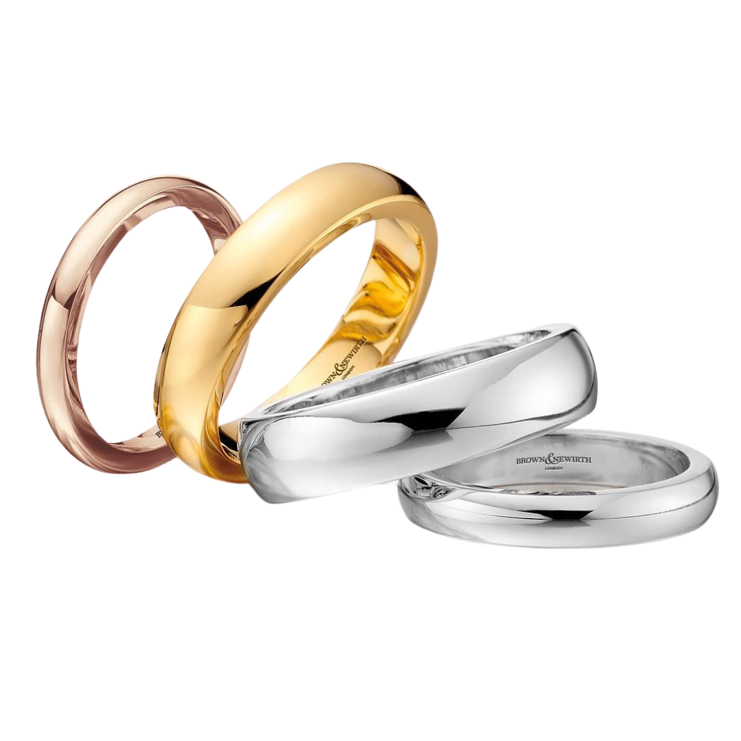 Brown & Newirth Wedding Rings in white, yellow and rose gold