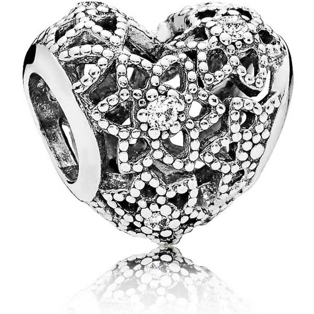 Pandora Silver Openwork Flower Heart Charm