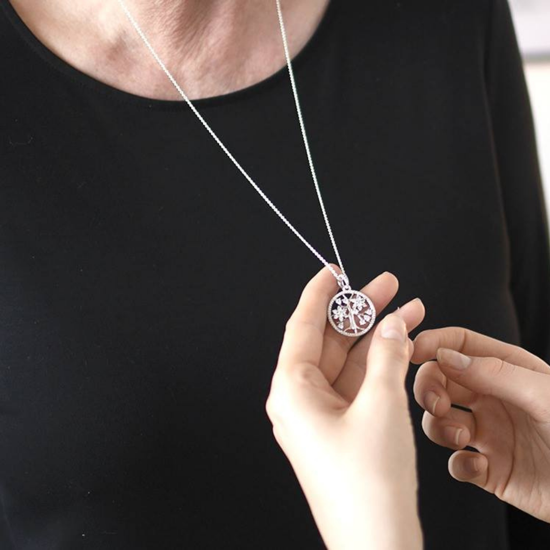 Pandora Silver Sparkling Family Tree Necklace