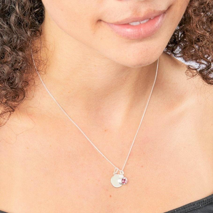 Swarovski October birthstone necklace with sterling silver disk and pink Swarovski crystal