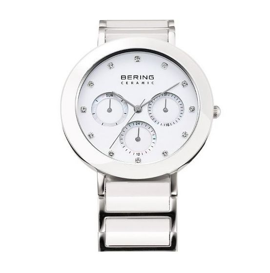 Bering Ladies White Ceramic and Stainless Steel Chrono Watch 11438-754