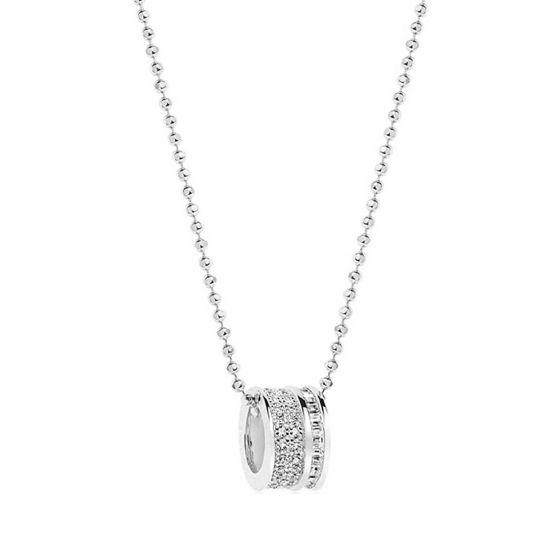 Sif Jakobs Corte Piccolo Pendant - Silver with White Zirconia