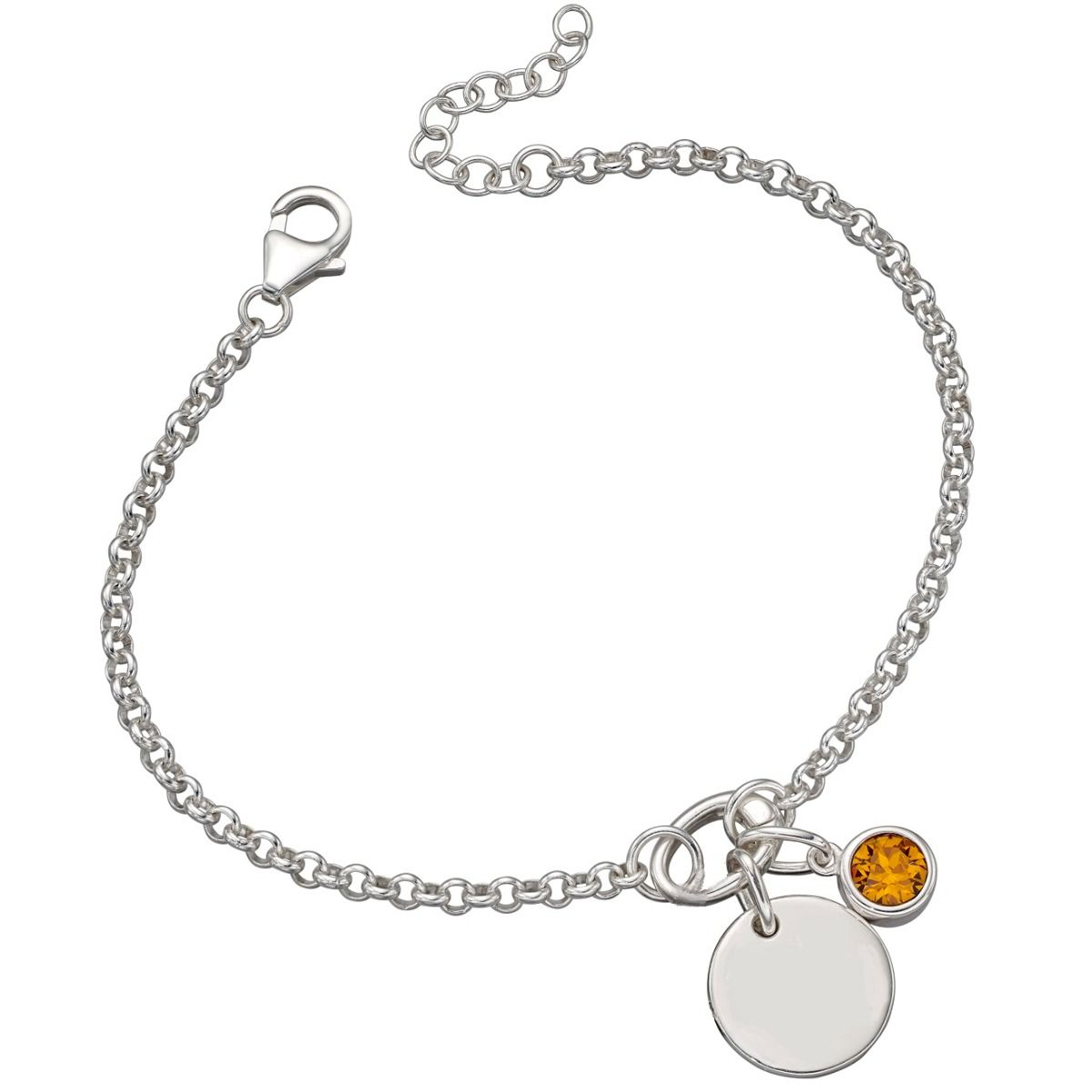 Sterling Silver Charm Bracelet Birthstone And Disc
