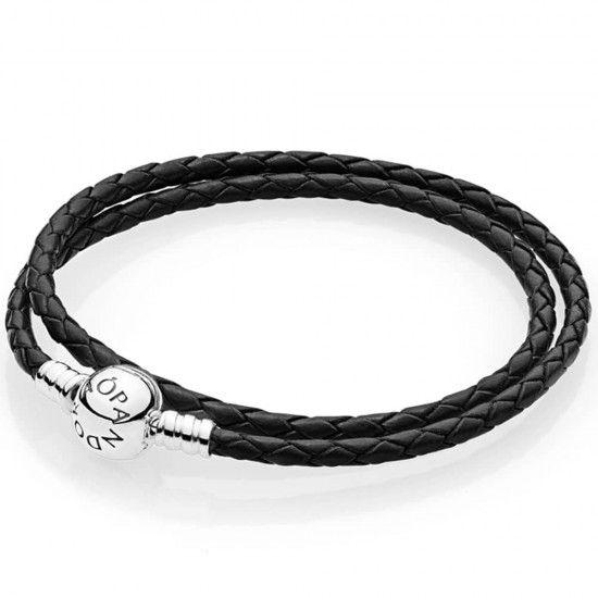 Pandora Moments Double Black Leather Bracelet 590745CBK