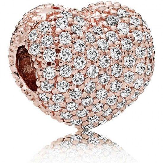 Pandora Rose Pavé Heart Clip Charm-781427cz