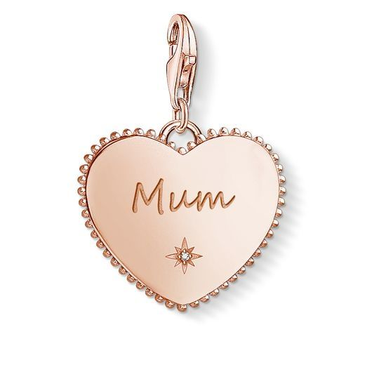 Thomas Sabo Charm Pendant - Rose Gold Heart 'Mum'