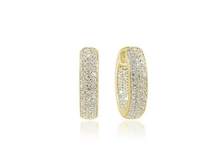 Sif Jakobs Earrings Imperia - 18k Gold Plated with White Zirconia - SJ-E1857-CZ-YG