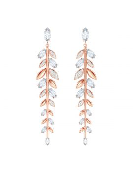 Swarovski Mayfly Pierced Earrings, White, Rose Gold Plating