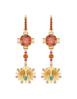 Swarovski Lucky Goddess Shell Pierced Earrings, Multi-Coloured, Gold Plating