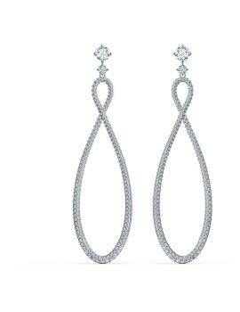 Swarovski Infinity Pierced Hoop Earrings - White - Rhodium Plated