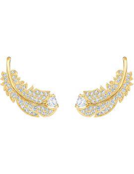 Swarovski Nice Stud Earrings, White, Gold Plating