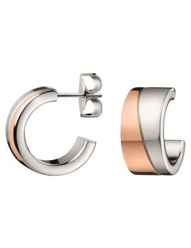 Calvin Klein Hook Stainless Steel and Rose Gold Plated Earrings