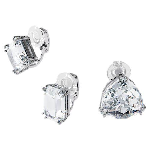 Swarovski Millenia Ear Cuff Asymmetrical Set - White with Rhodium Plating-5602846