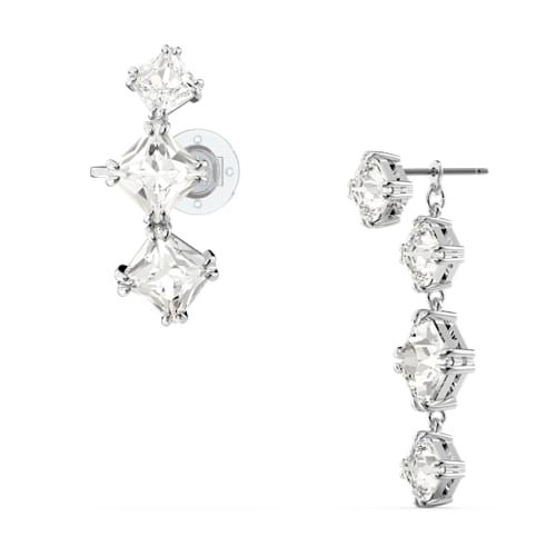 Swarovski Millenia Drop Earring Asymmetrical Set - White with Rhodium Plating-5602782