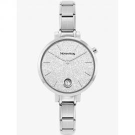 NOMINATION PARIS Watch with Steel Band ROUND with Zircon Glitter Silver 076033_023