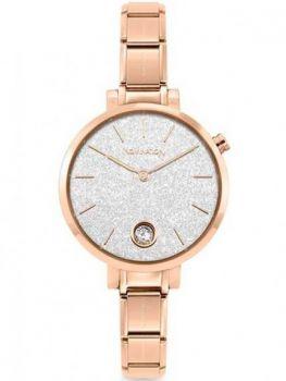 NOMINATION PARIS Watch with ROUND Steel Strap with ROSEGOLD Zircon Glitter Silver
