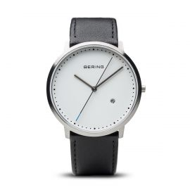 Bering Unisex Classic Brushed Silver Black Leather Strap Watch 11139-404
