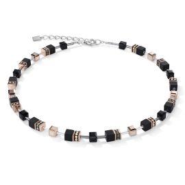 Coeur De Lion GeoCUBE Necklace - Onyx Black and Rose gold 4018101300