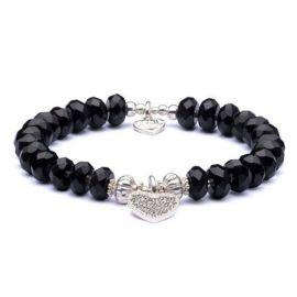 Annie Haak Black Onyx and Silver Bracelet - Black Crystal Heart Charm
