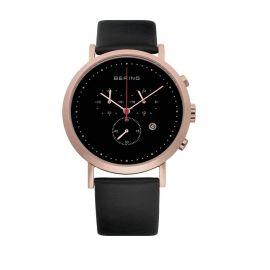 Bering Men's Chronograph Watch - Black Leather Strap