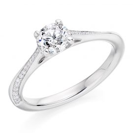 Round Brilliant Cut Engagement Ring with Knife Edge Band