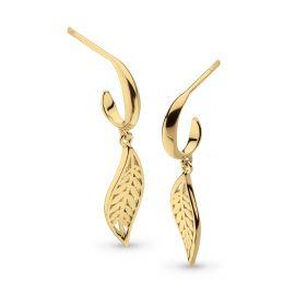 Kit Heath Blossom Eden SmallLeaf Gold Plate Hoop Drop Earrings 60249GD027