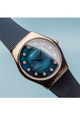 Bering Ladies Classic Polished Rose Gold and Blue Watch