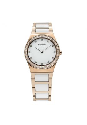 Bering Ladies Rose Gold Tone and White Ceramic Watch