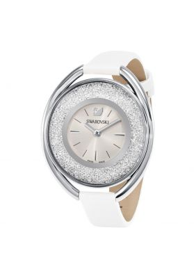 Swarovski_Crystalline_Oval_White_&_Silver_Leather_Watch