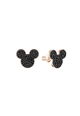 Swarovski Mickey & Minnie Pierced Earring, Black, Rose Gold Plating