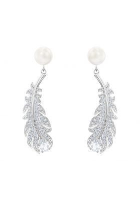 Swarovski Nice Earrings, White, Rhodium Plating