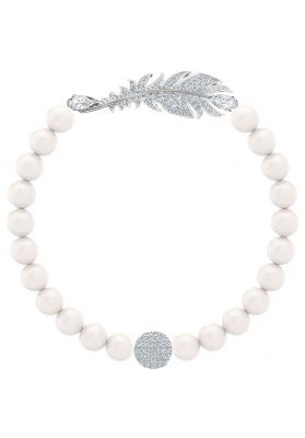 Swarovski Nice Medium Pearl White Bracelet, Rhodium Plating