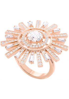 Swarovski Sunshine Cocktail Ring, White, Rose Gold Plating