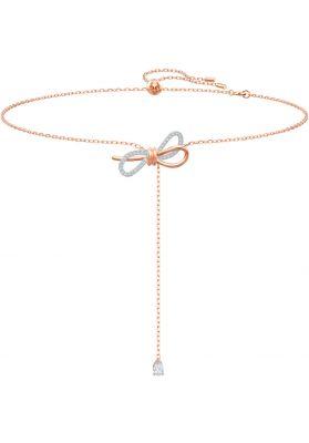 Swarovski Lifelong Bow Y Necklace, White, Mixed Plating