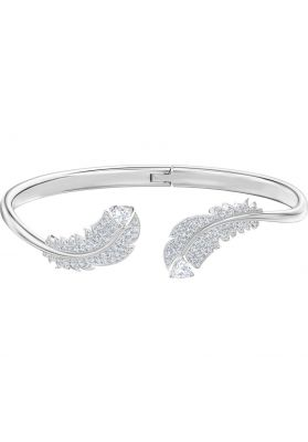 Swarovski Nice Bangle, White, Rhodium Plating