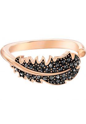 Swarovski Naughty Motif Ring, Black, Rose Gold Plating