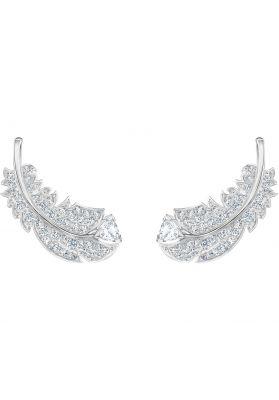 Swarovski Nice Stud Earrings, White, Rhodium Plating