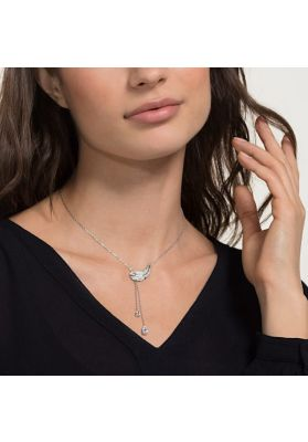 Swarovski Nice Y Necklace, White, Rhodium Plating