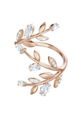 Swarovski Mayfly Coil Ring, White, Rose Gold Plating