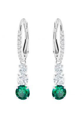 Swarovski Attract Trilogy Round Pierced Earrings, Green, Rhodium Plating