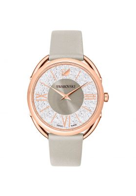 Swarovski Crystalline Glam Watch, Leather Strap, Grey, Rose Gold Tone