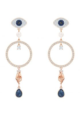 Swarovski Symbolic Hoop Pierced Earrings, Multi-Coloured, Rose Gold Plating