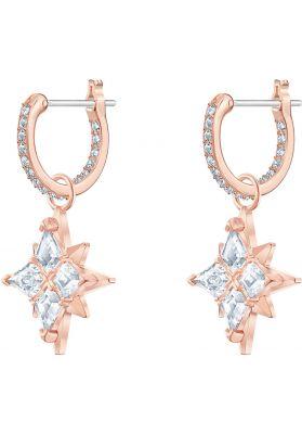 Swarovski Symbolic Star Hoop Pierced Earrings, White, Rose Gold Plating