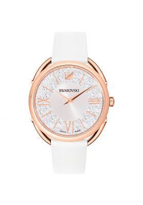 Swarovski Crystalline Glam Watch, Leather Strap, White, Rose Gold Tone Plating