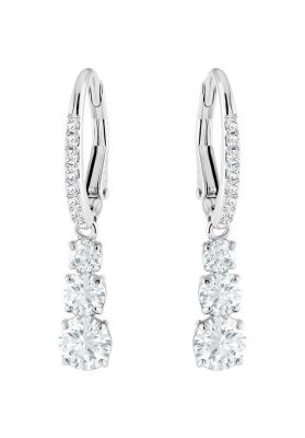 Swarovski Attract Trilogy Round Pierced Earrings, White, Rhodium Plating