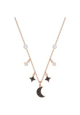 Swarovski Duo Moon Necklace, Black, Rose Gold Plating