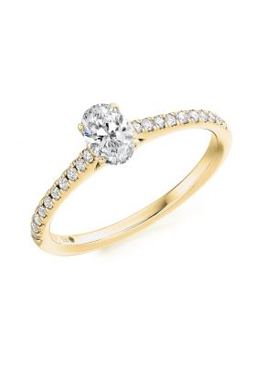 Oval Cut Diamond Solitaire Ring with Diamond Band