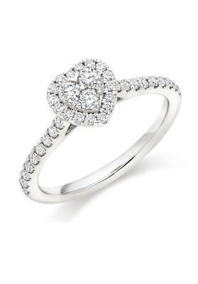 Round Brilliant Heart Shaped Diamond Cluster Ring