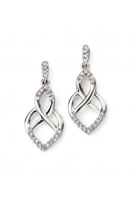 Elements Gold 9ct White Gold Open Pattern Earrings GE2085