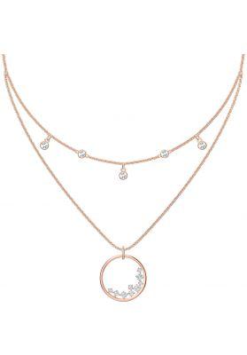 Swarovski North Double Necklace, White, Rose Gold Plating
